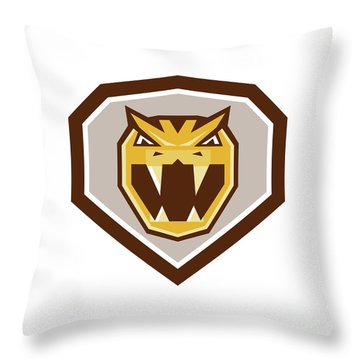 Angry Horned Viper Crest Retro Throw Pillow by Aloysius Patrimonio