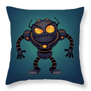 Angry Robot Throw Pillow by John Schwegel