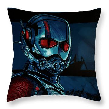 Ant Man Painting Throw Pillow by Paul Meijering