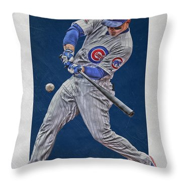 Anthony Rizzo Chicago Cubs Art 1 Throw Pillow by Joe Hamilton