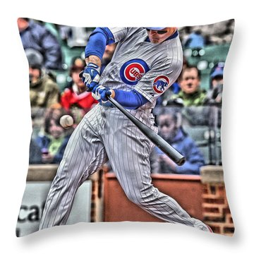 Anthony Rizzo Chicago Cubs Throw Pillow by Joe Hamilton