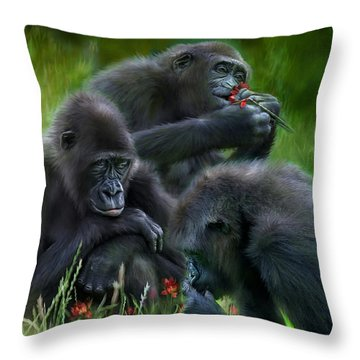 Ape Moods Throw Pillow by Carol Cavalaris