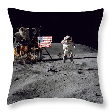 Apollo 16 Astronaut Leaps Throw Pillow by Stocktrek Images