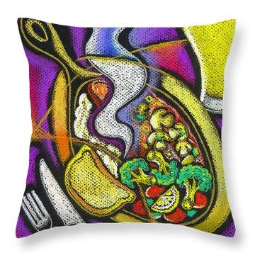 Appetizing Dinner Throw Pillow by Leon Zernitsky