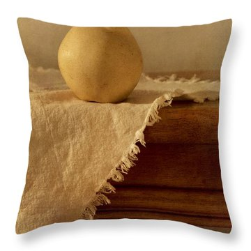 Apple Pear On A Table Throw Pillow by Priska Wettstein