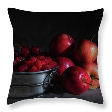 Apples And Berries Panoramic Throw Pillow by Tom Mc Nemar