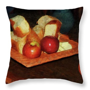 Apples And Bread Throw Pillow by Susan Savad