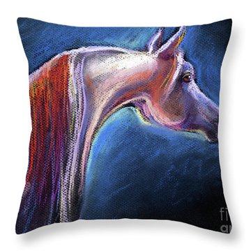 Arabian Horse Equine Painting Throw Pillow by Svetlana Novikova