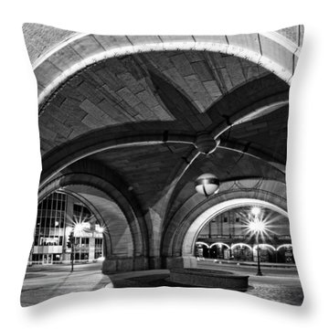 Arched In Black And White Throw Pillow by CJ Schmit