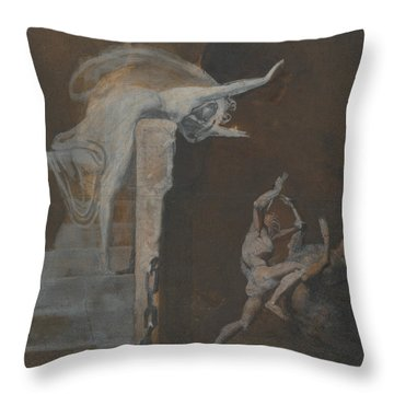 Ariadne Watching The Struggle Of Theseus With The Minotaur Throw Pillow by Henry Fuseli