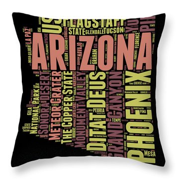 Arizona Word Cloud Map 1 Throw Pillow by Naxart Studio