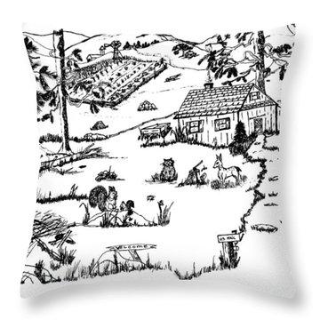 Arlenne's Idyllic Farm Throw Pillow by Daniel Hagerman