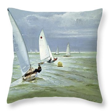 Around The Buoy Throw Pillow by Timothy Easton