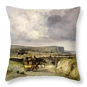 Arrival Of A Stagecoach At Treport Throw Pillow by Jules Achille Noel