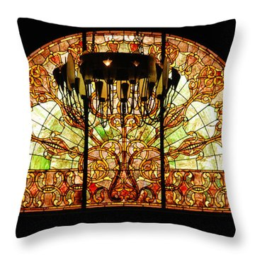Artful Stained Glass Window Union Station Hotel Nashville Throw Pillow by Susanne Van Hulst
