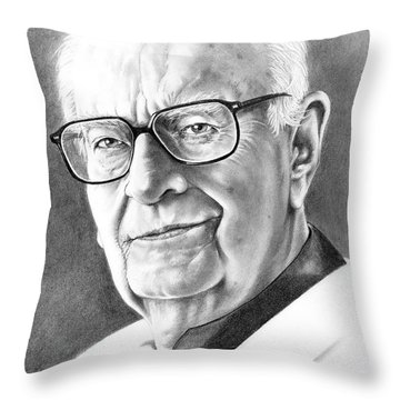 Arthur C. Clarke Throw Pillow by Murphy Elliott