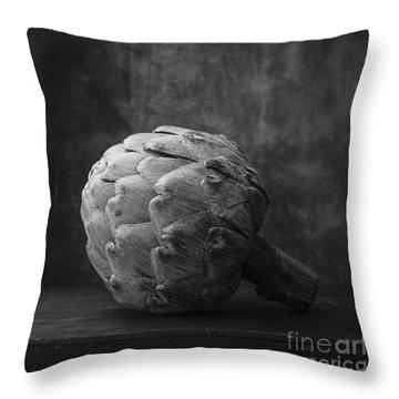 Artichoke Black And White Still Life Throw Pillow by Edward Fielding