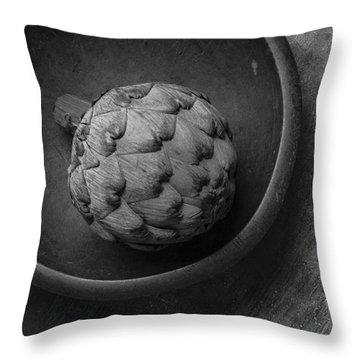 Artichoke Black And White Still Life Three Throw Pillow by Edward Fielding