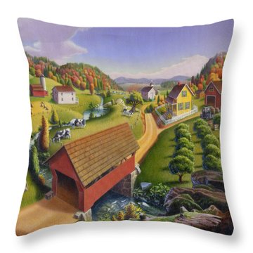 Folk Art Covered Bridge Appalachian Country Farm Summer Landscape - Appalachia - Rural Americana Throw Pillow by Walt Curlee