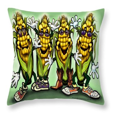 Corn Party Throw Pillow by Kevin Middleton
