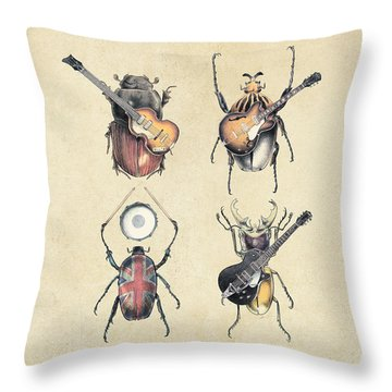 Meet The Beetles Throw Pillow by Eric Fan