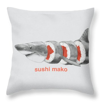 Sushi Mako Throw Pillow by Eric Fan