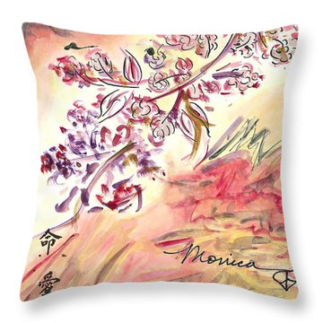 Cherry Blossoms Throw Pillow by Monica Mitchell