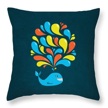 Dark Colorful Splash Happy Cartoon Whale Throw Pillow by Boriana Giormova