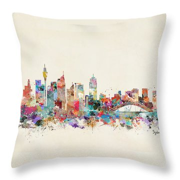 Sydney Skyline Australia Throw Pillow by Bri B