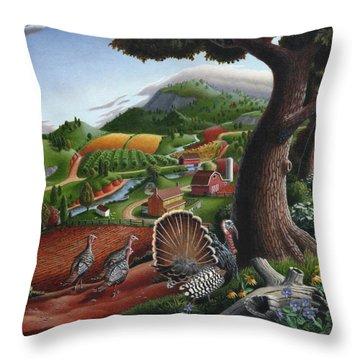 Wild Turkeys Appalachian Thanksgiving Landscape - Childhood Memories - Country Life - Americana Throw Pillow by Walt Curlee