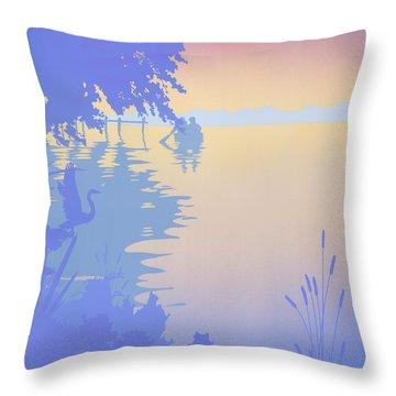 abstract tropical boat Dock Sunset large pop art nouveau retro 1980s florida landscape seascape Throw Pillow by Walt Curlee