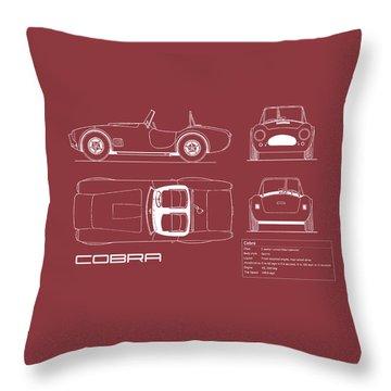 Ac Cobra Blueprint - Red Throw Pillow by Mark Rogan