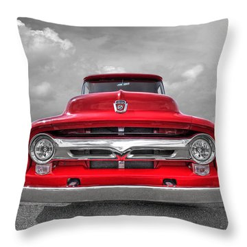 Red Ford F-100 Head On Throw Pillow by Gill Billington