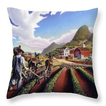Appalachian Folk Art Summer Farmer Cultivating Peas Farm Farming Landscape Appalachia Americana Throw Pillow by Walt Curlee