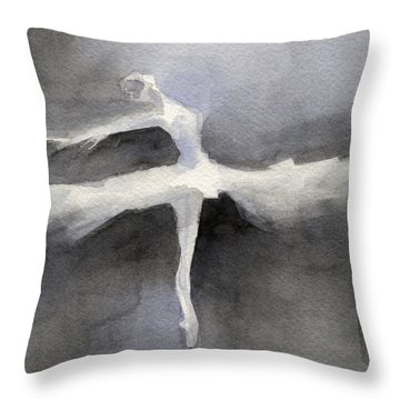 Ballet Dancer In White Tutu Watercolor Paintings Of Dance Throw Pillow by Beverly Brown
