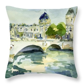 Pont De Change Watercolor Paintings Of Paris Throw Pillow by Beverly Brown