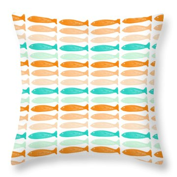 Colorful Fish Throw Pillow by Linda Woods