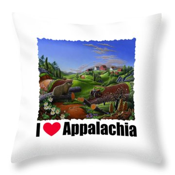 I Love Appalachia - Spring Groundhog Throw Pillow by Walt Curlee