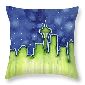 Seattle Night Sky Watercolor Throw Pillow by Olga Shvartsur