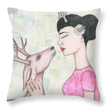 My Deer Throw Pillow by Natalie Briney