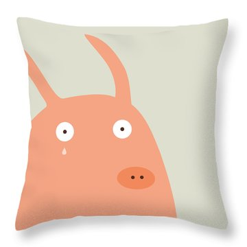 Pigs And Bunnies Throw Pillow by Fuzzorama