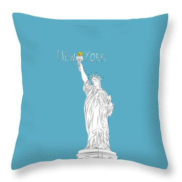 Ny Statue Of Liberty Line Art Throw Pillow by Bekare Creative