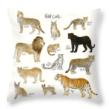 Wild Cats Throw Pillow by Amy Hamilton