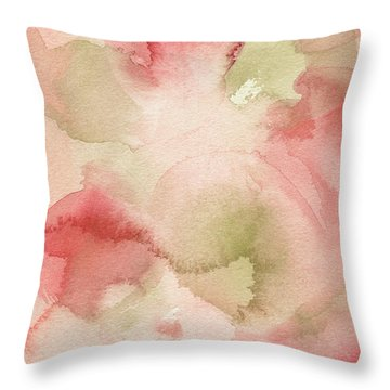 Blush Pink Green Persimmon Throw Pillow by Beverly Brown