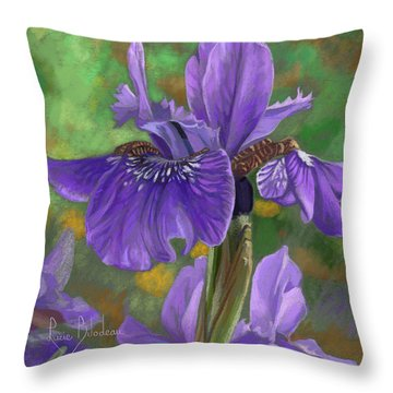 Irises Throw Pillow by Lucie Bilodeau
