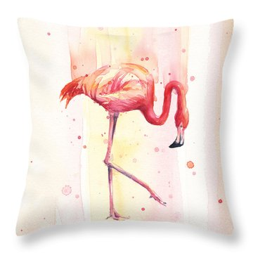 Pink Flamingo Watercolor Rain Throw Pillow by Olga Shvartsur