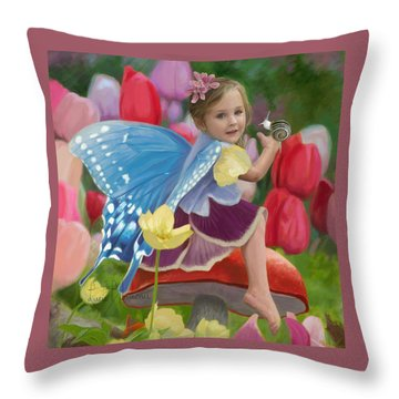 Spring Fairy Throw Pillow by Lucie Bilodeau