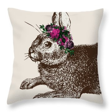 Rabbit And Roses Throw Pillow by Eclectic at HeART