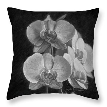 Orchids - Black And White Throw Pillow by Lucie Bilodeau