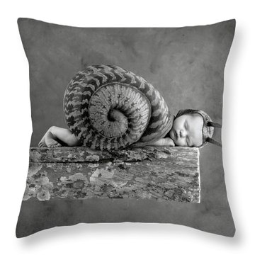 Julia Snail Throw Pillow by Anne Geddes